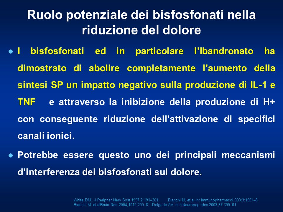 I bisfosfonati ed in particolare lIbandronato ha dimostrato di abolire completamente l'aumento della sintesi SP un impatto negativo sulla produzione d