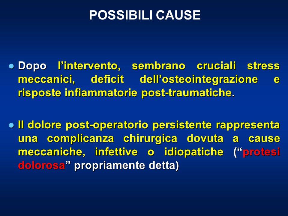 POSSIBILI CAUSE Dopo lintervento, sembrano cruciali stress meccanici, deficit dellosteointegrazione e risposte infiammatorie post-traumatiche.Dopo lin
