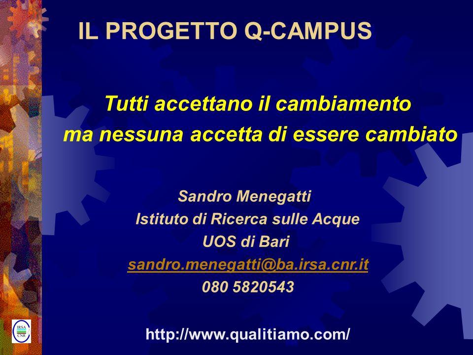 IL PROGETTO Q-CAMPUS Tutti accettano il cambiamento ma nessuna accetta di essere cambiato Sandro Menegatti Istituto di Ricerca sulle Acque UOS di Bari