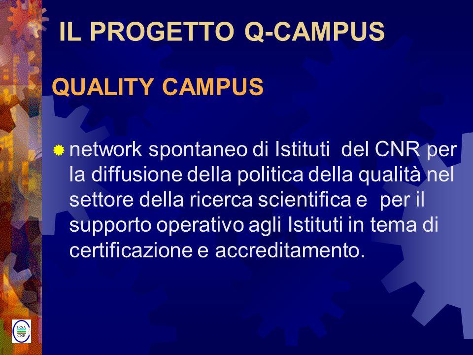IL PROGETTO Q-CAMPUS QUALITY CAMPUS network spontaneo di Istituti del CNR per la diffusione della politica della qualità nel settore della ricerca sci