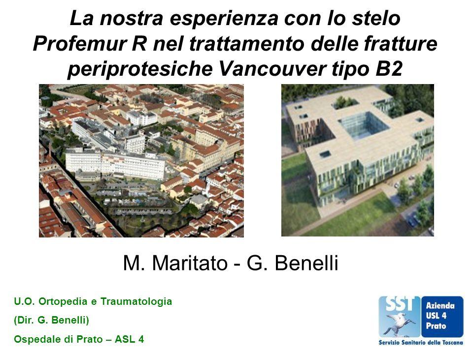 La nostra esperienza con lo stelo Profemur R nel trattamento delle fratture periprotesiche Vancouver tipo B2 M. Maritato - G. Benelli U.O. Ortopedia e