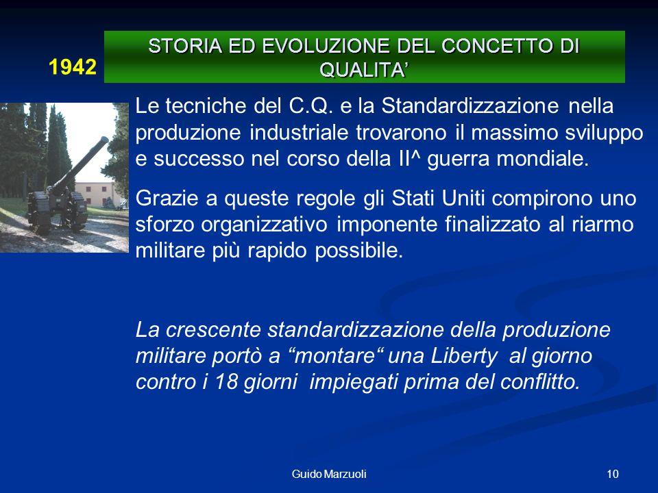 10Guido Marzuoli 1942 STORIA ED EVOLUZIONE DEL CONCETTO DI QUALITA Le tecniche del C.Q. e la Standardizzazione nella produzione industriale trovarono