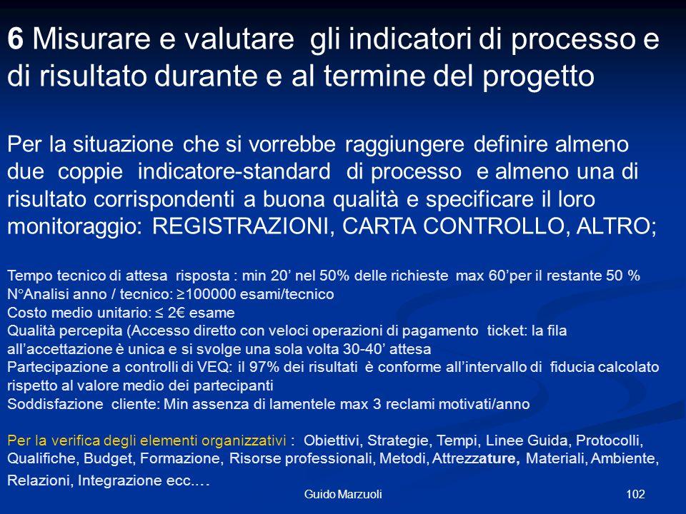 102Guido Marzuoli 6 Misurare e valutare gli indicatori di processo e di risultato durante e al termine del progetto Per la situazione che si vorrebbe