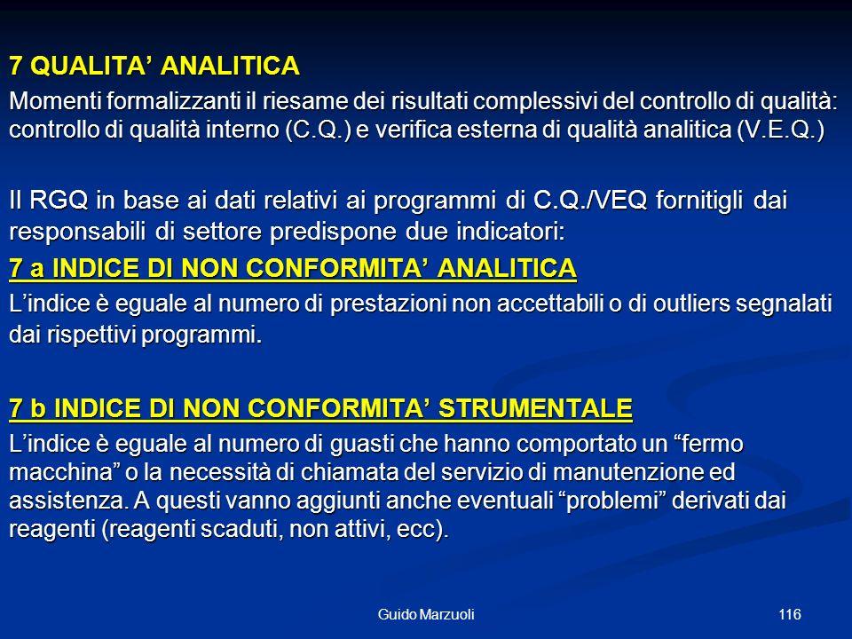 116Guido Marzuoli 7 QUALITA ANALITICA Momenti formalizzanti il riesame dei risultati complessivi del controllo di qualità: controllo di qualità intern