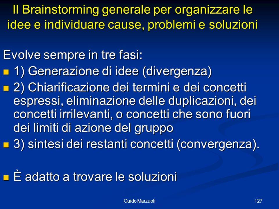 127Guido Marzuoli Il Brainstorming generale per organizzare le idee e individuare cause, problemi e soluzioni Evolve sempre in tre fasi: 1) Generazion