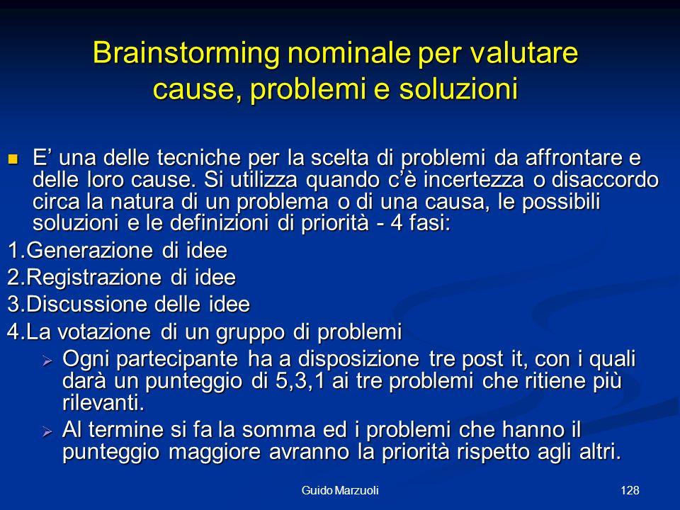 128Guido Marzuoli Brainstorming nominale per valutare cause, problemi e soluzioni E una delle tecniche per la scelta di problemi da affrontare e delle