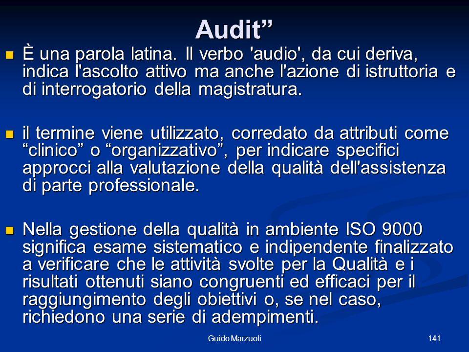 141Guido Marzuoli Audit È una parola latina. Il verbo 'audio', da cui deriva, indica l'ascolto attivo ma anche l'azione di istruttoria e di interrogat