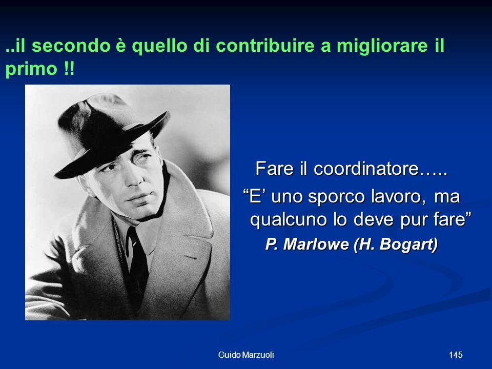 145Guido Marzuoli Fare il coordinatore….. E uno sporco lavoro, ma qualcuno lo deve pur fare P. Marlowe (H. Bogart)..il secondo è quello di contribuire