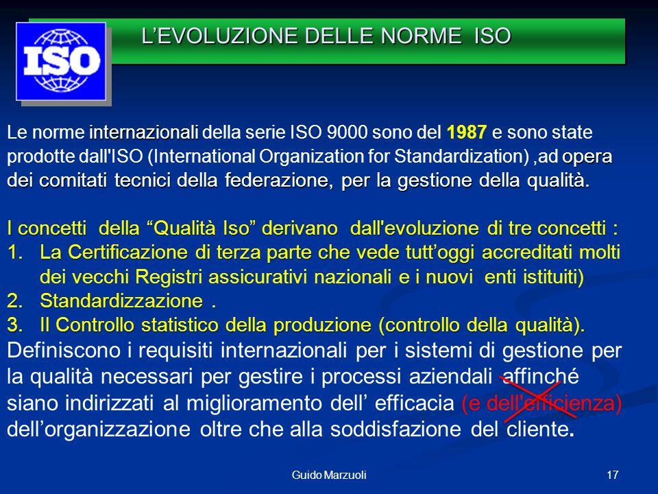 17Guido Marzuoli internazionali opera dei comitati tecnici della federazione, per la gestione della qualità. Le norme internazionali della serie ISO 9