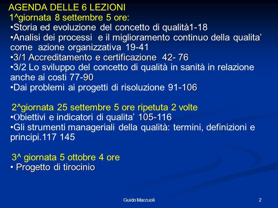 2Guido Marzuoli Programma AGENDA DELLE 6 LEZIONI 1^giornata 8 settembre 5 ore: Storia ed evoluzione del concetto di qualità1-18 Analisi dei processi e