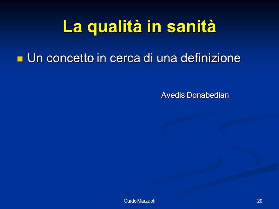 20Guido Marzuoli La qualità in sanità Un concetto in cerca di una definizione Un concetto in cerca di una definizione Avedis Donabedian Avedis Donabed