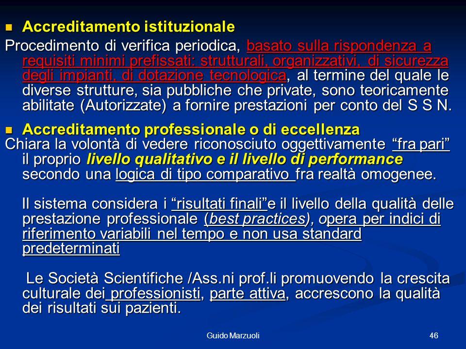 46Guido Marzuoli Accreditamento istituzionale Accreditamento istituzionale Procedimento di verifica periodica, basato sulla rispondenza a requisiti mi