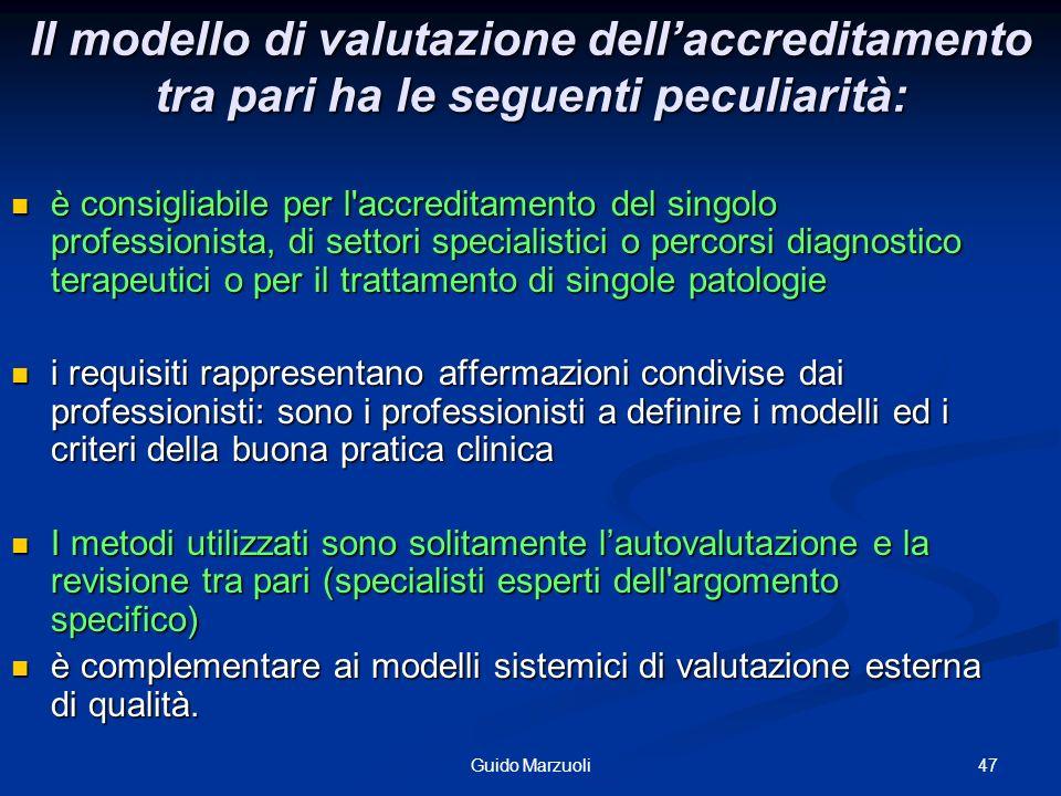 47Guido Marzuoli Il modello di valutazione dellaccreditamento tra pari ha le seguenti peculiarità: è consigliabile per l'accreditamento del singolo pr