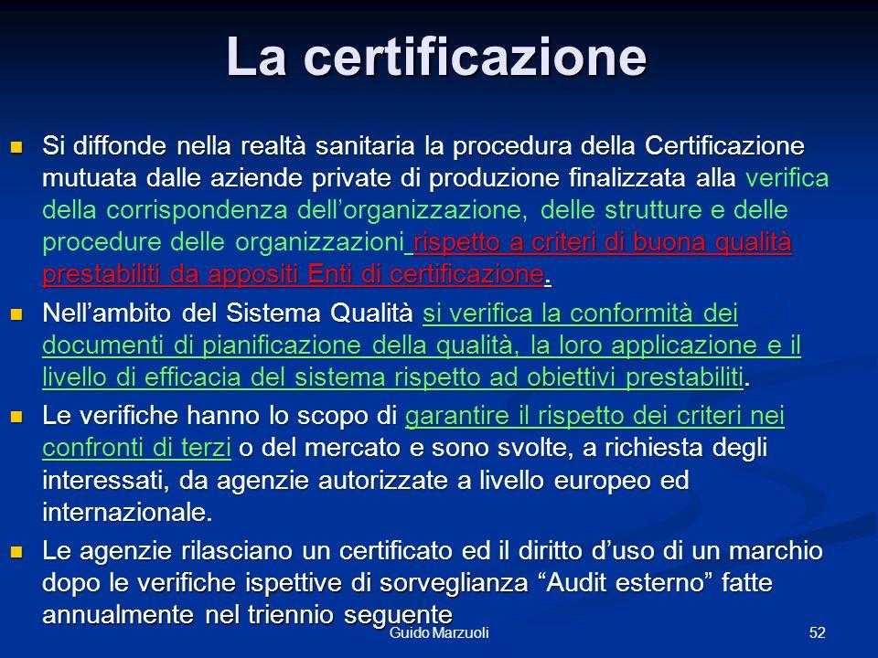 La certificazione Si diffonde nella realtà sanitaria la procedura della Certificazione mutuata dalle aziende private di produzione finalizzata alla ri