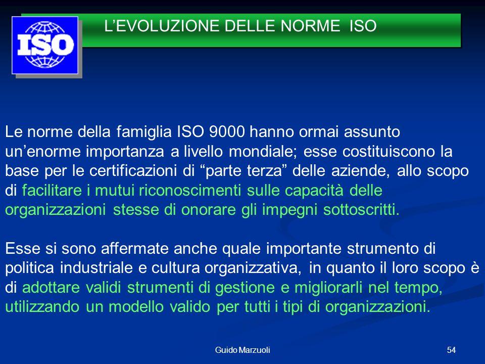 54Guido Marzuoli LEVOLUZIONE DELLE NORME ISO 1987 Le norme della famiglia ISO 9000 hanno ormai assunto unenorme importanza a livello mondiale; esse co