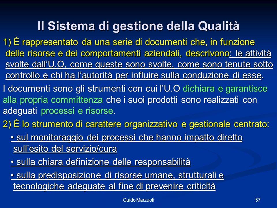 57Guido Marzuoli Il Sistema di gestione della Qualità 1) È rappresentato da una serie di documenti che, in funzione delle risorse e dei comportamenti