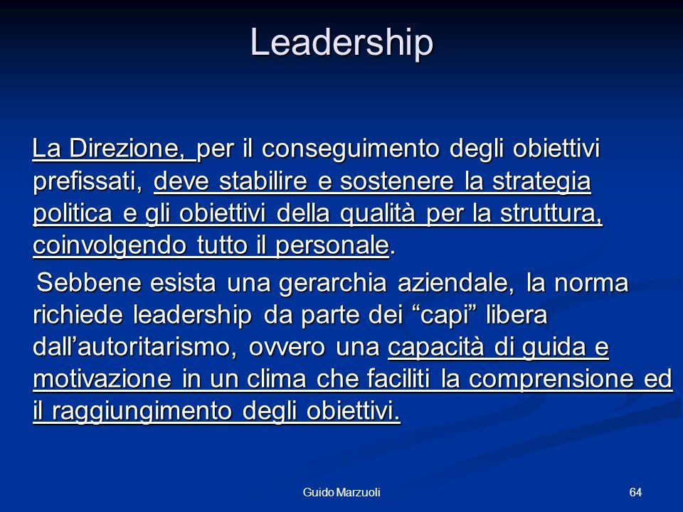 64Guido Marzuoli Leadership La Direzione, per il conseguimento degli obiettivi prefissati, deve stabilire e sostenere la strategia politica e gli obie