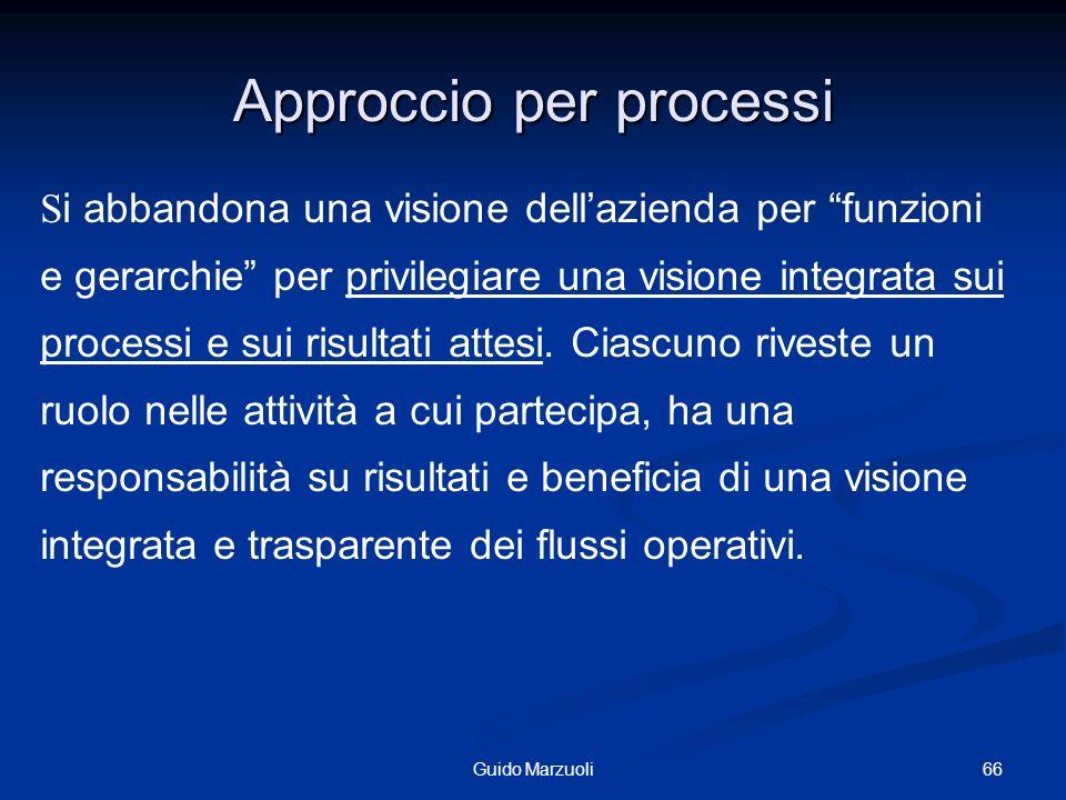 66Guido Marzuoli Approccio per processi S i abbandona una visione dellazienda per funzioni e gerarchie per privilegiare una visione integrata sui proc