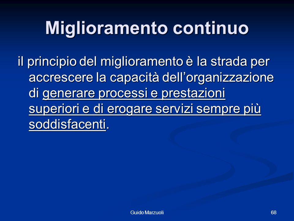 Miglioramento continuo il principio del miglioramento è la strada per accrescere la capacità dellorganizzazione di generare processi e prestazioni sup