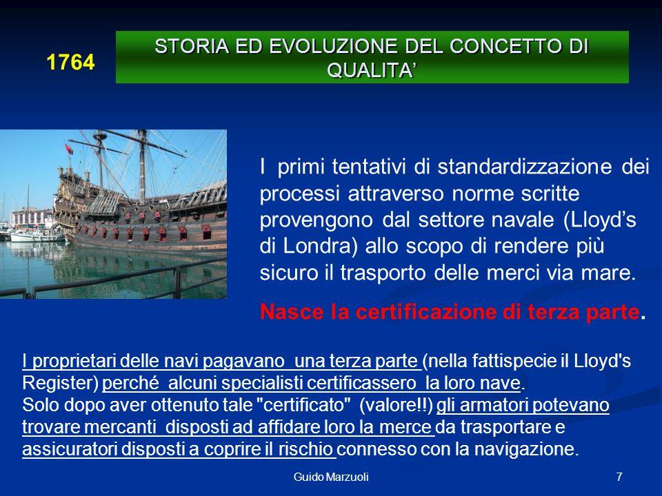 7Guido Marzuoli I primi tentativi di standardizzazione dei processi attraverso norme scritte provengono dal settore navale (Lloyds di Londra) allo sco