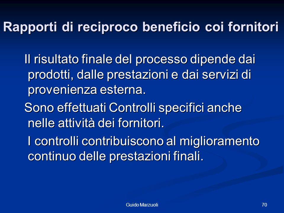 Rapporti di reciproco beneficio coi fornitori Il risultato finale del processo dipende dai prodotti, dalle prestazioni e dai servizi di provenienza es