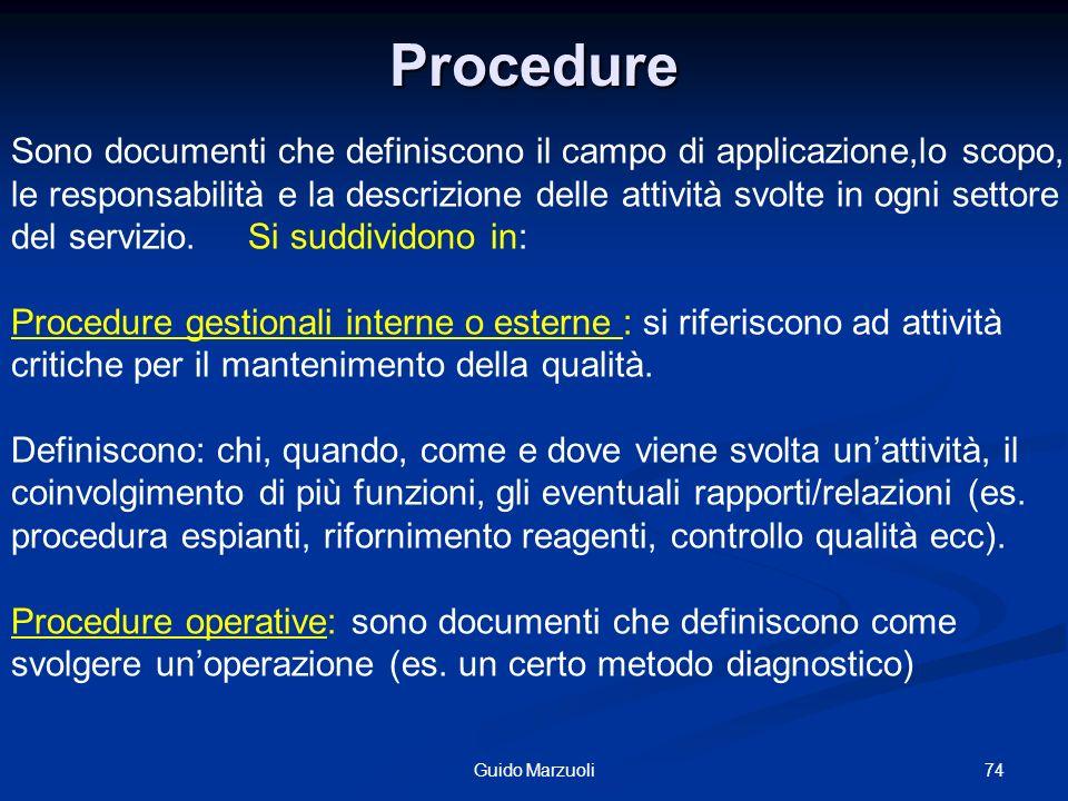 74Guido Marzuoli Procedure Sono documenti che definiscono il campo di applicazione,lo scopo, le responsabilità e la descrizione delle attività svolte