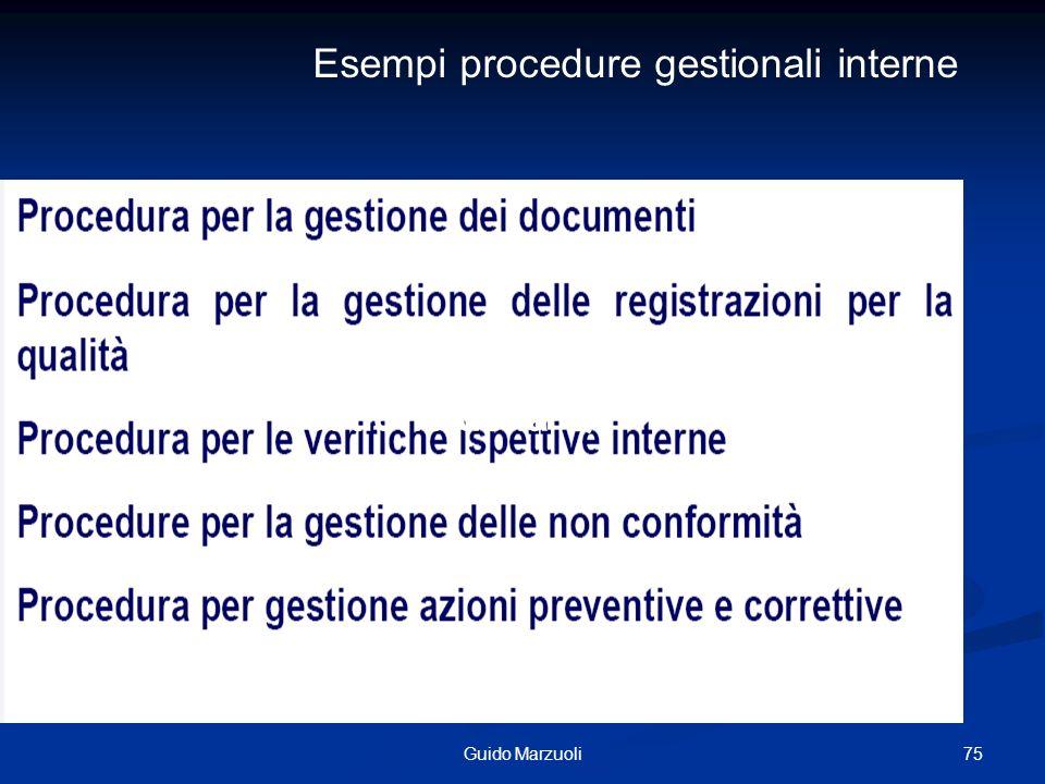 75Guido Marzuoli Approccio Sistemico alla Gestione della Q Esempi procedure gestionali interne