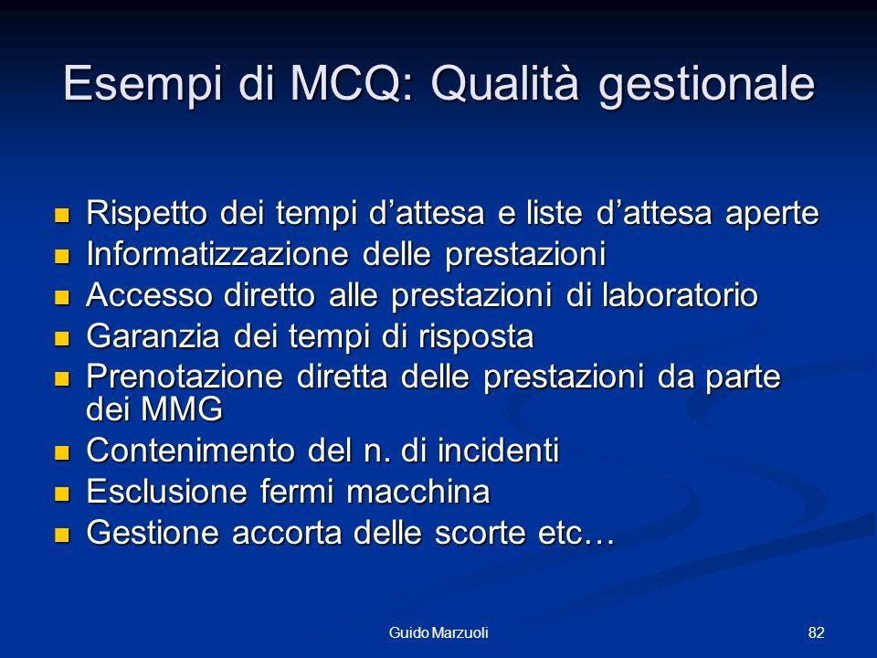 82Guido Marzuoli Esempi di MCQ: Qualità gestionale Rispetto dei tempi dattesa e liste dattesa aperte Rispetto dei tempi dattesa e liste dattesa aperte