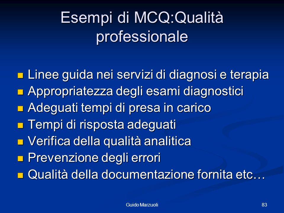 83Guido Marzuoli Esempi di MCQ:Qualità professionale Linee guida nei servizi di diagnosi e terapia Linee guida nei servizi di diagnosi e terapia Appro