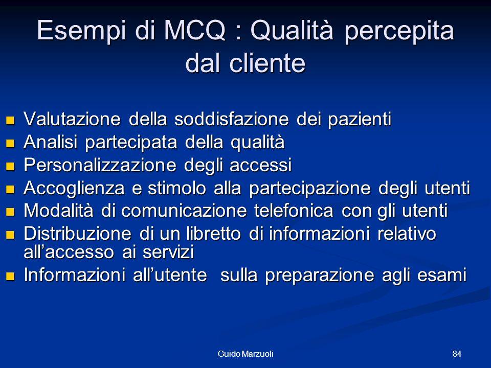 84Guido Marzuoli Esempi di MCQ : Qualità percepita dal cliente Valutazione della soddisfazione dei pazienti Valutazione della soddisfazione dei pazien
