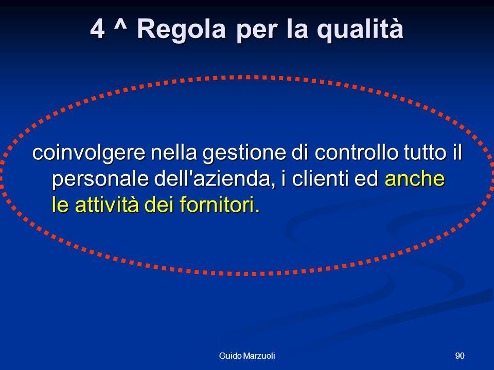 4 ^ Regola per la qualità coinvolgere nella gestione di controllo tutto il personale dell'azienda, i clienti ed anche le attività dei fornitori. 90Gui