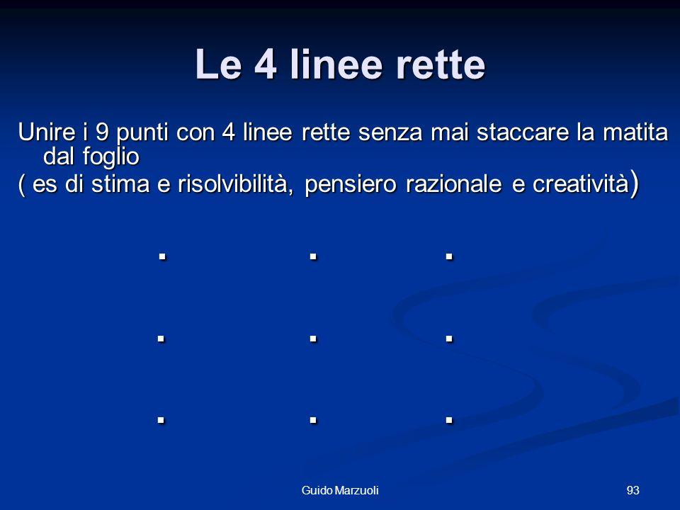 93Guido Marzuoli Le 4 linee rette Unire i 9 punti con 4 linee rette senza mai staccare la matita dal foglio ( es di stima e risolvibilità, pensiero ra