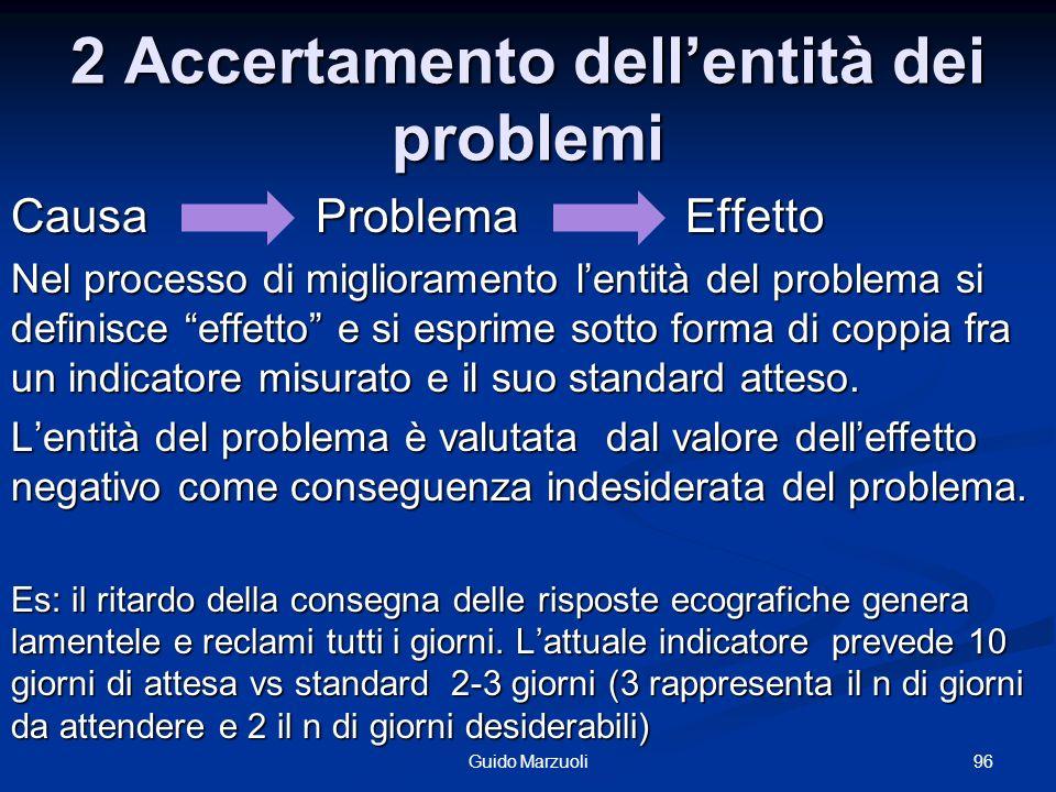 2 Accertamento dellentità dei problemi Causa Problema Effetto Nel processo di miglioramento lentità del problema si definisce effetto e si esprime sot