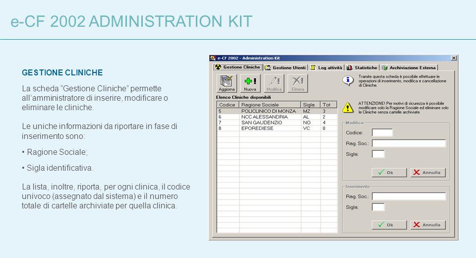 e-CF 2002 ADMINISTRATION KIT GESTIONE CLINICHE La scheda Gestione Cliniche permette allamministratore di inserire, modificare o eliminare le cliniche.