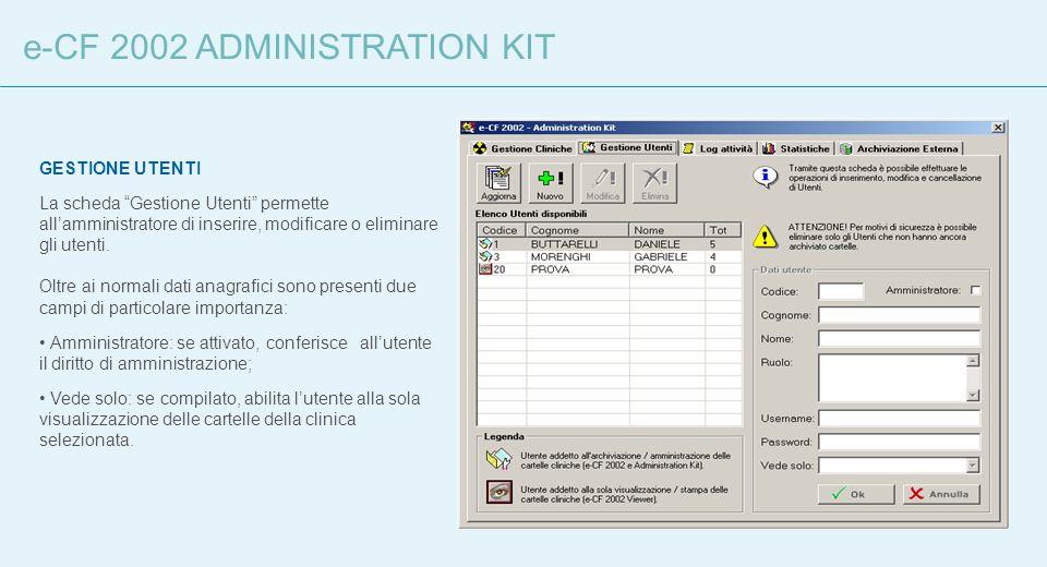 GESTIONE UTENTI La scheda Gestione Utenti permette allamministratore di inserire, modificare o eliminare gli utenti. Oltre ai normali dati anagrafici