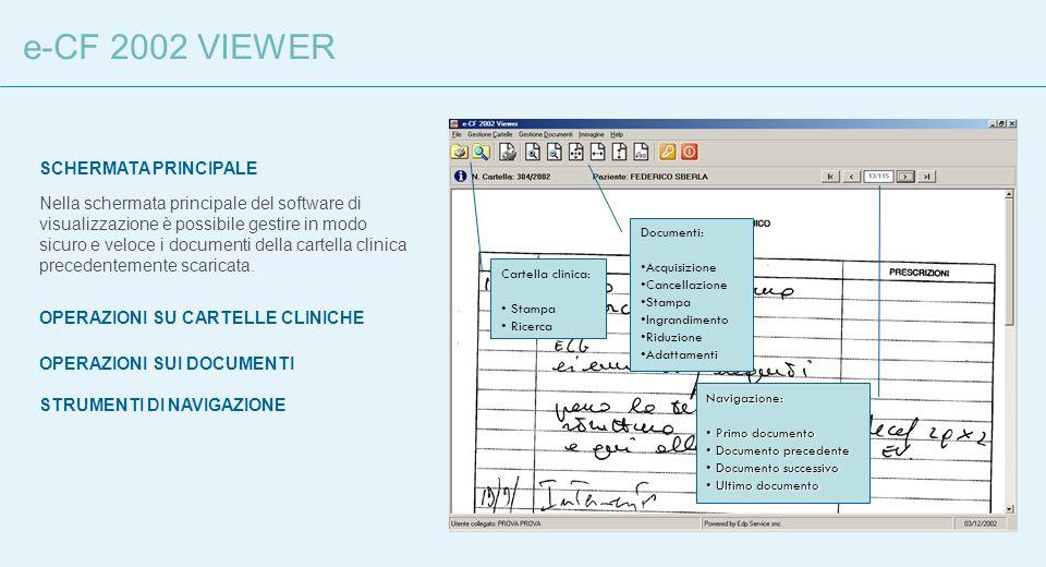 e-CF 2002 VIEWER SCHERMATA PRINCIPALE Nella schermata principale del software di visualizzazione è possibile gestire in modo sicuro e veloce i documen