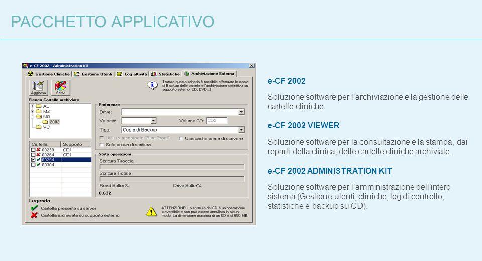 e-CF 2002 Soluzione software per larchiviazione e la gestione delle cartelle cliniche. e-CF 2002 VIEWER Soluzione software per la consultazione e la s