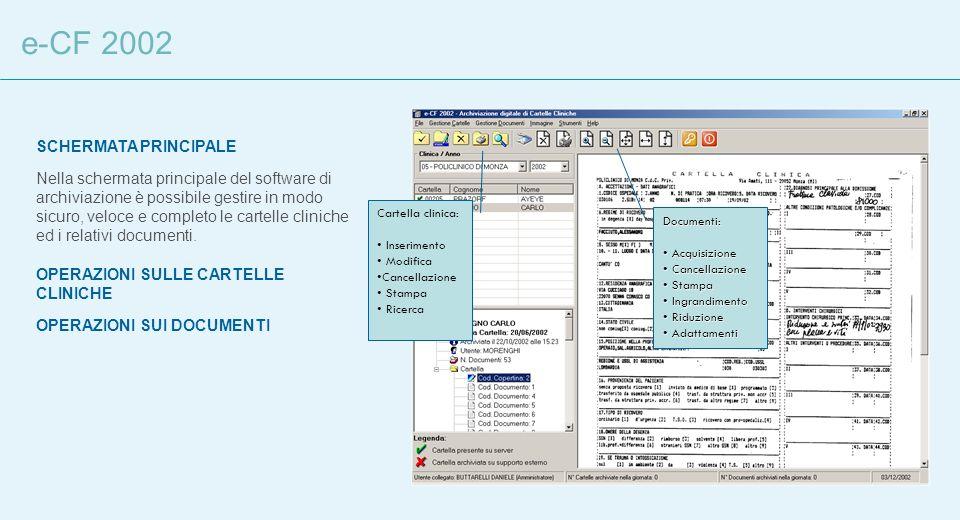 e-CF 2002 SCHERMATA PRINCIPALE Nella schermata principale del software di archiviazione è possibile gestire in modo sicuro, veloce e completo le carte