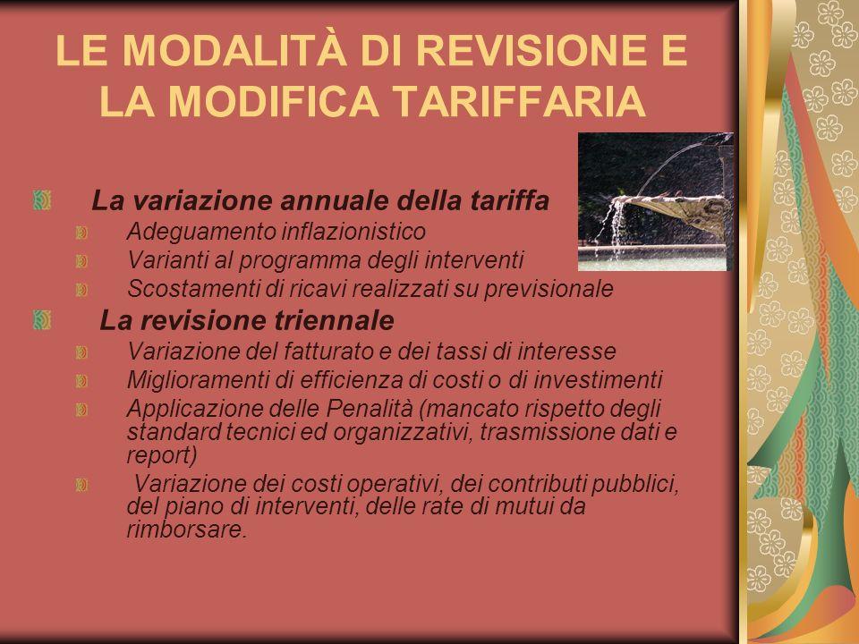 LE MODALITÀ DI REVISIONE E LA MODIFICA TARIFFARIA La variazione annuale della tariffa Adeguamento inflazionistico Varianti al programma degli interven