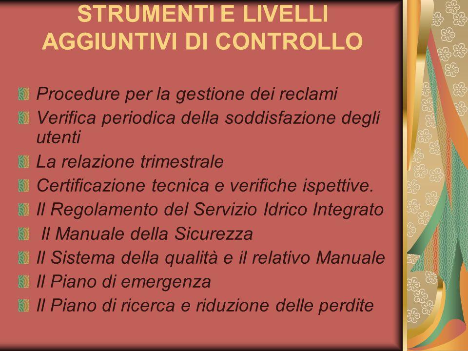 STRUMENTI E LIVELLI AGGIUNTIVI DI CONTROLLO Procedure per la gestione dei reclami Verifica periodica della soddisfazione degli utenti La relazione tri