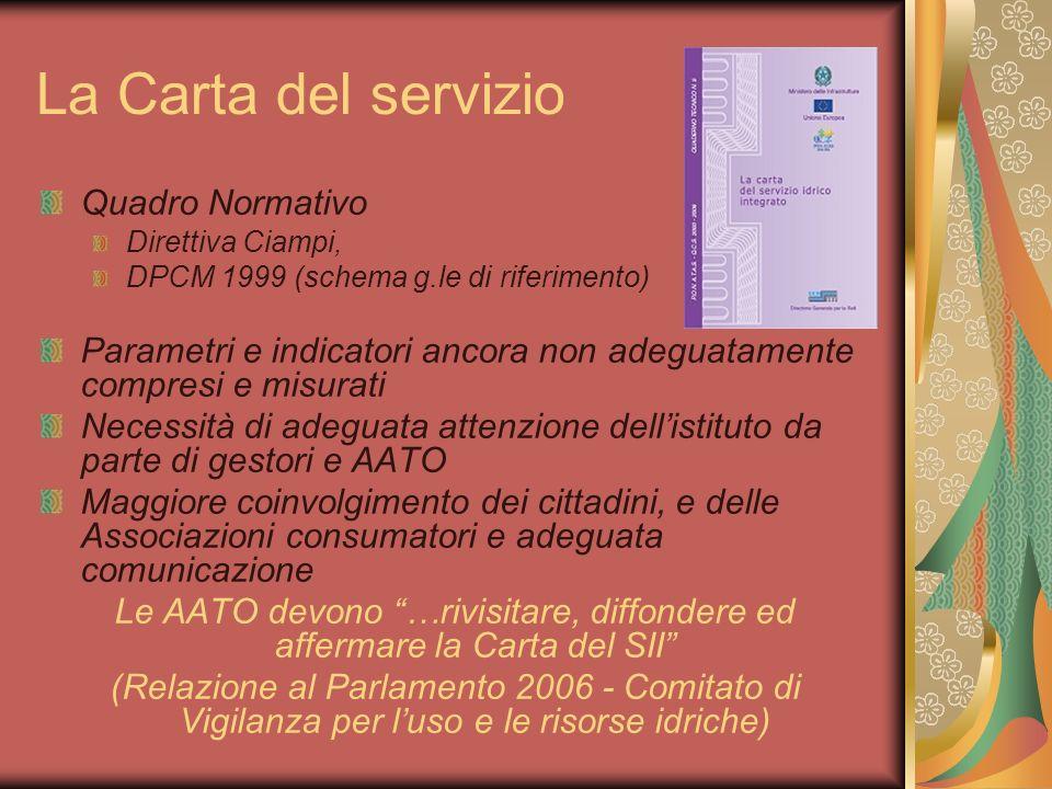 La Carta del servizio Quadro Normativo Direttiva Ciampi, DPCM 1999 (schema g.le di riferimento) Parametri e indicatori ancora non adeguatamente compre