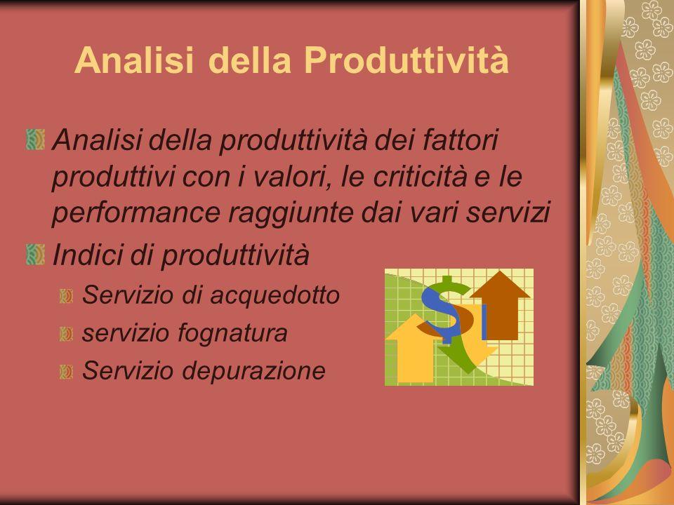 Analisi della Produttività Analisi della produttività dei fattori produttivi con i valori, le criticità e le performance raggiunte dai vari servizi Indici di produttività Servizio di acquedotto servizio fognatura Servizio depurazione