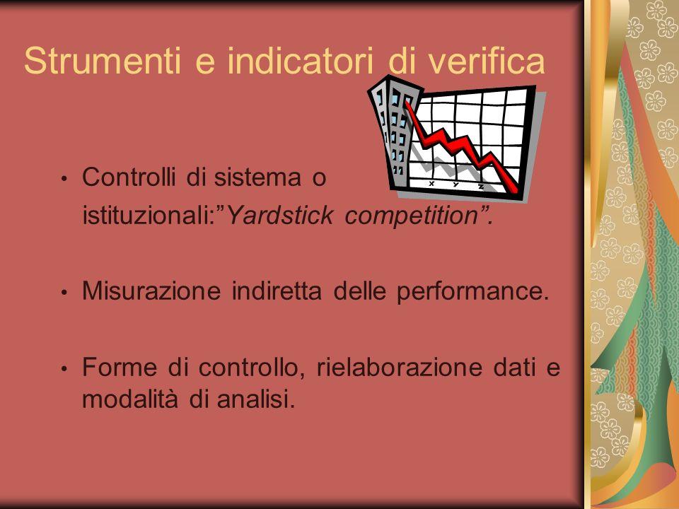 Strumenti e indicatori di verifica Controlli di sistema o istituzionali:Yardstick competition. Misurazione indiretta delle performance. Forme di contr