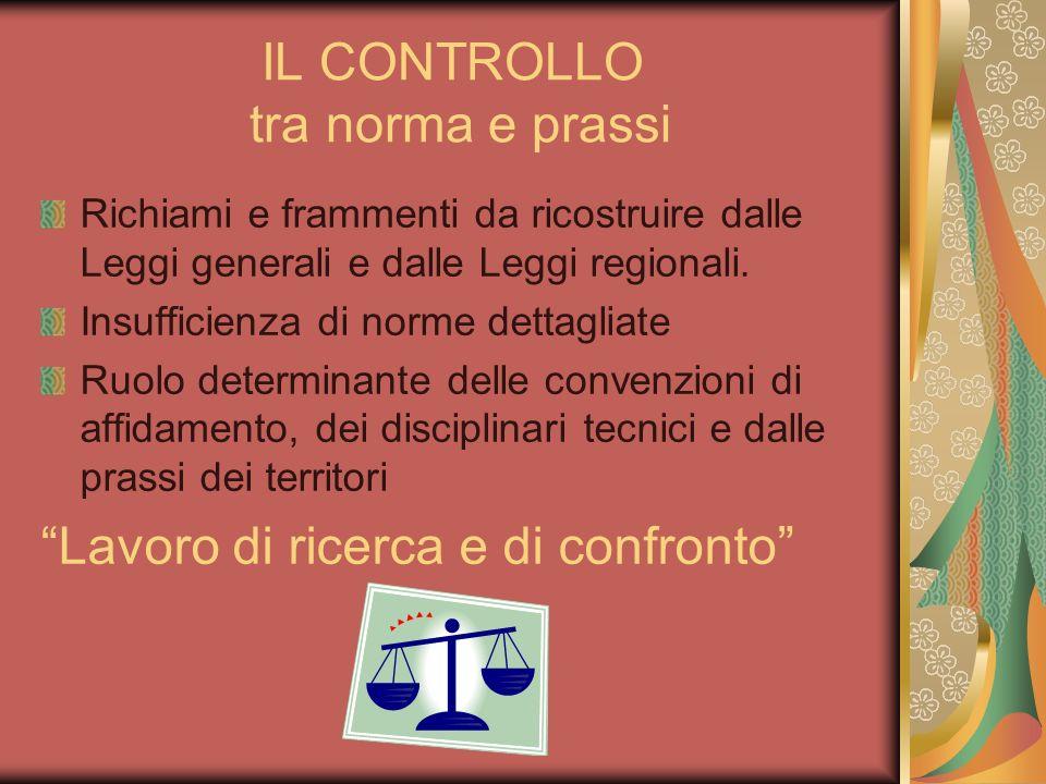IL CONTROLLO tra norma e prassi Richiami e frammenti da ricostruire dalle Leggi generali e dalle Leggi regionali.