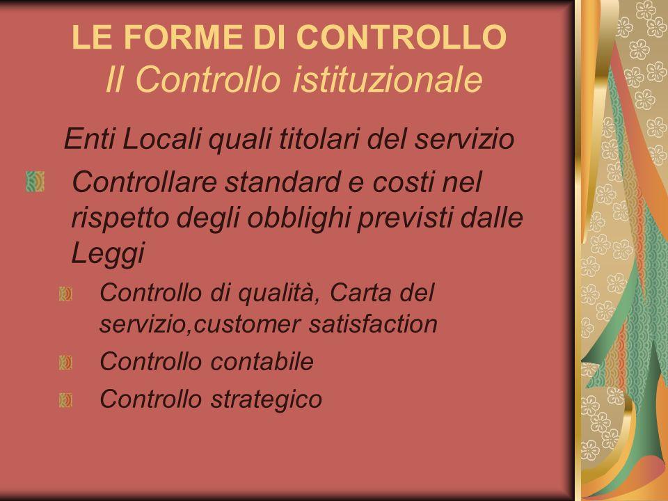 LE FORME DI CONTROLLO Il Controllo istituzionale Enti Locali quali titolari del servizio Controllare standard e costi nel rispetto degli obblighi prev