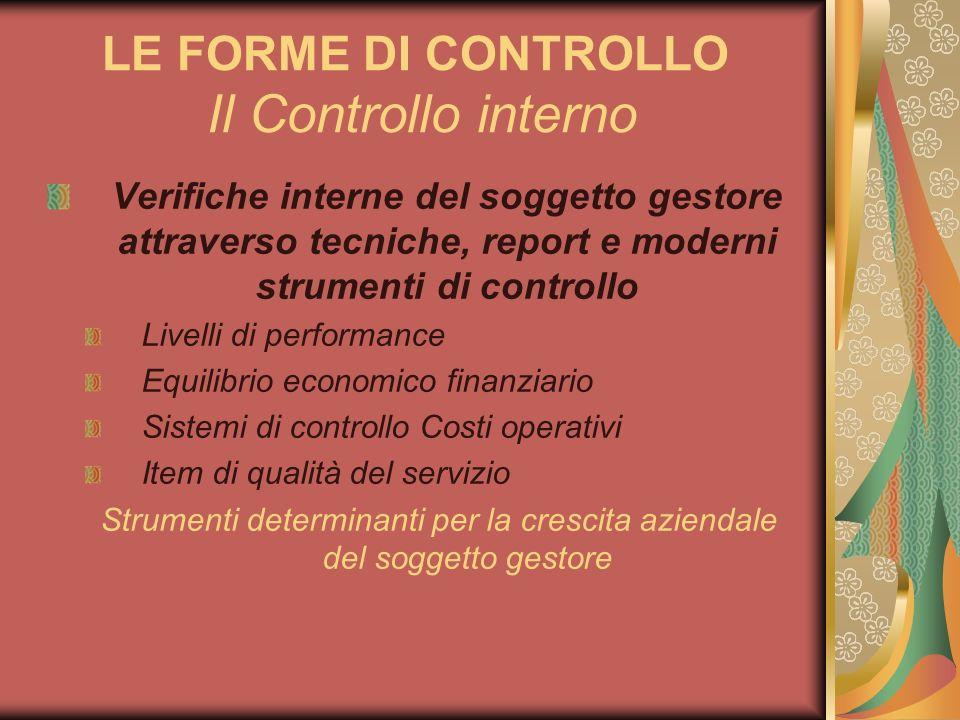LE FORME DI CONTROLLO Il Controllo interno Verifiche interne del soggetto gestore attraverso tecniche, report e moderni strumenti di controllo Livelli