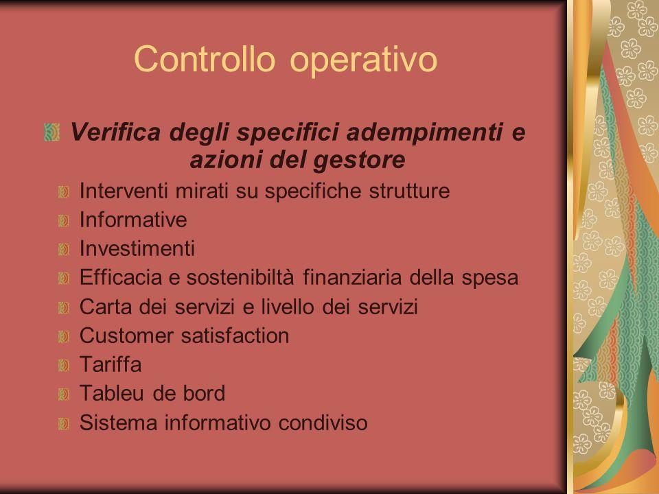 Controllo operativo Verifica degli specifici adempimenti e azioni del gestore Interventi mirati su specifiche strutture Informative Investimenti Effic