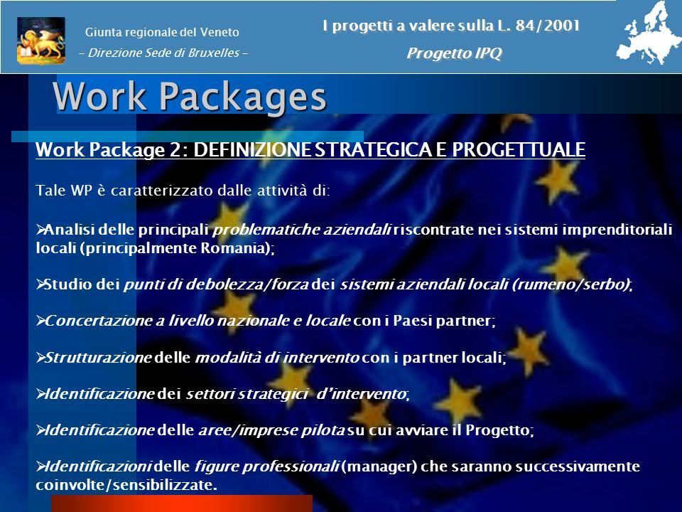 Work Packages Work Package 2: DEFINIZIONE STRATEGICA E PROGETTUALE Tale WP è caratterizzato dalle attività di: Analisi delle principali problematiche