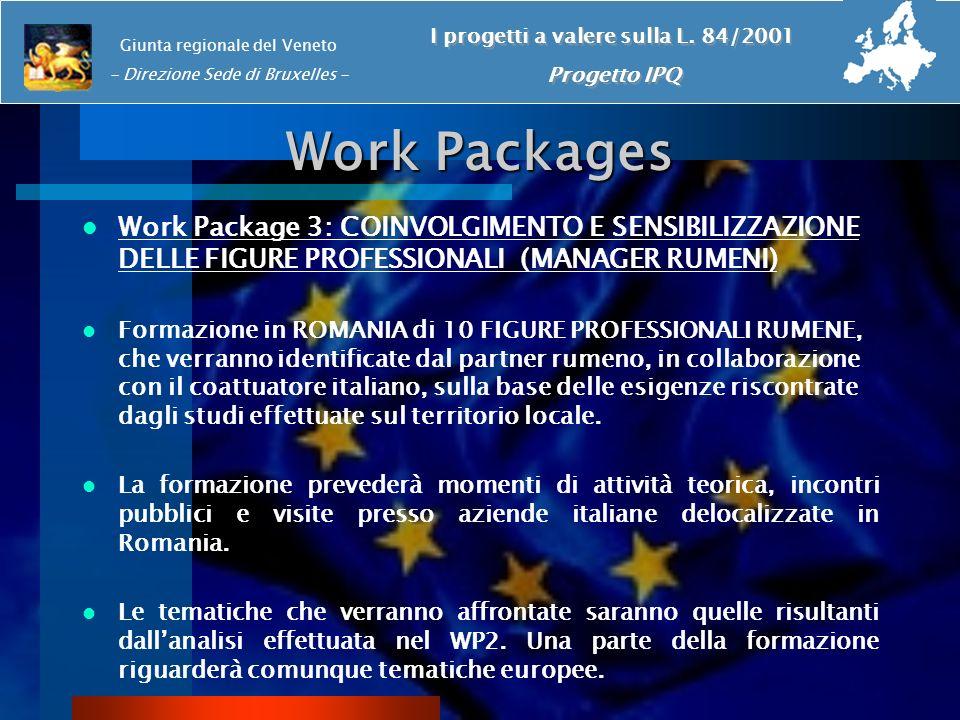 Work Packages Work Package 3: COINVOLGIMENTO E SENSIBILIZZAZIONE DELLE FIGURE PROFESSIONALI (MANAGER RUMENI) Formazione in ROMANIA di 10 FIGURE PROFES