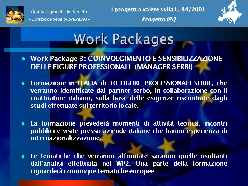 Work Packages Work Package 3: COINVOLGIMENTO E SENSIBILIZZAZIONE DELLE FIGURE PROFESSIONALI (MANAGER SERBI) Formazione in ITALIA di 10 FIGURE PROFESSI